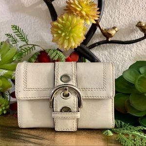 EUC Beige/Off White Coach Tri-fold wallet